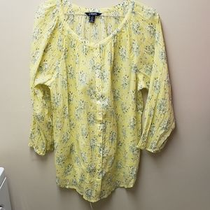 Chaps Lightweight Tunic Yellow Floral SZ M